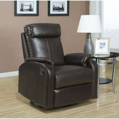 Dark Brown Bonded Leather Swivel Recliner