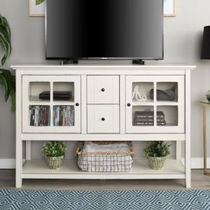 52 in. Transitional Wood and Glass Buffet - Antique White