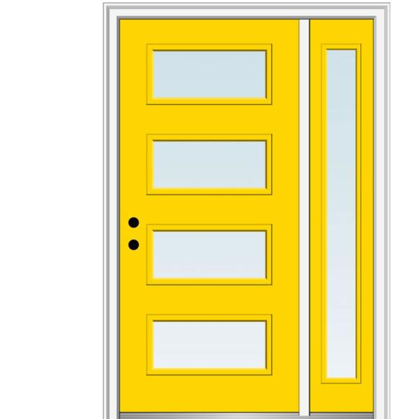 Mmi Door 51 In X 81 75 In Celeste Clear Low E Glass Right Hand 4 Lite Eclectic Painted Steel Prehung Front Door With Sidelite Z0353642r The Home Depot