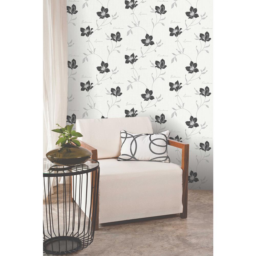 56.4 sq. ft. Mischa Black Floral Wallpaper