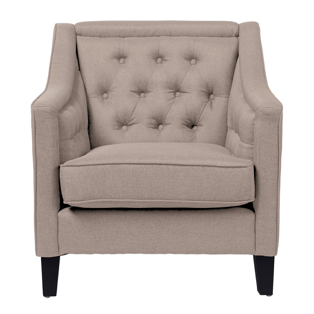 Vienna Contemporary Beige Fabric Upholstered Accent Chair