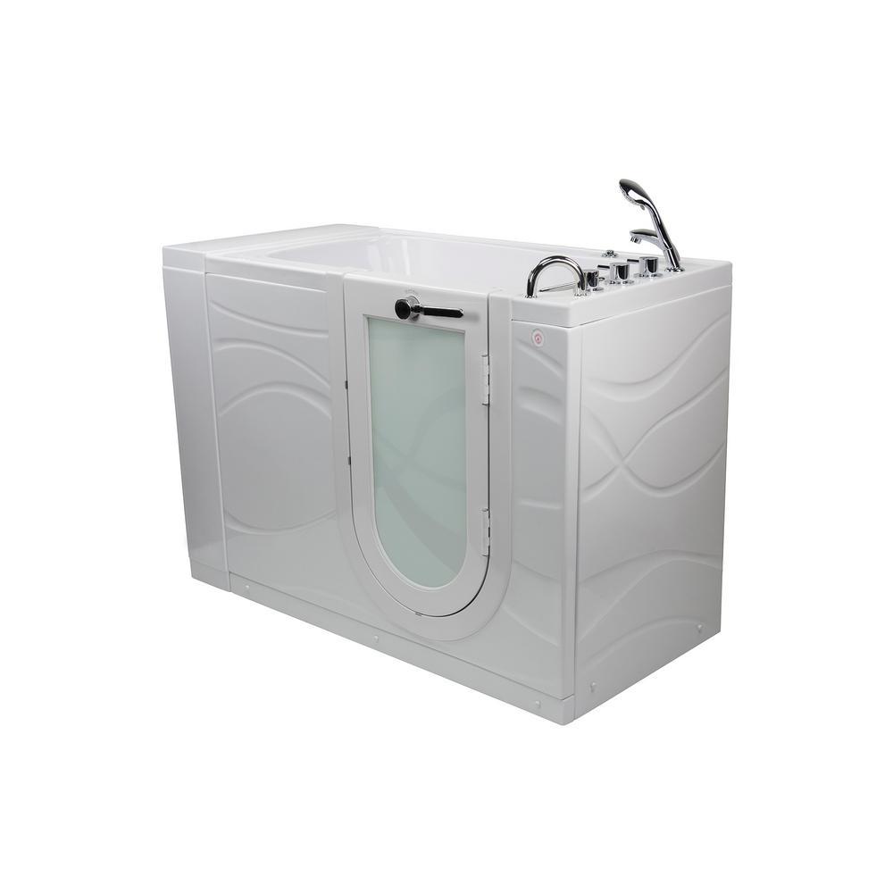 Zen 52 in. Walk-In MicroBubble Air Bath Bathtub in White W/ RHS Outward Swing Door, Heated Seat, Faucet, RHS Dual Drain