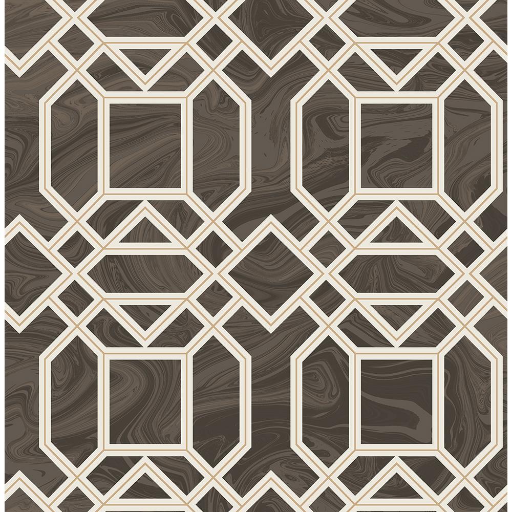 A-Street 56.4 sq. ft. Daphne Brown Trellis Wallpaper 2763-24221