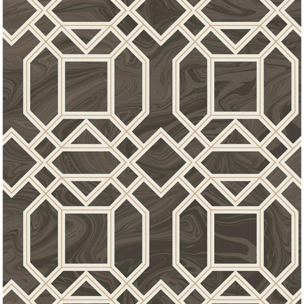 A-Street 8 in. x 10 in. Daphne Brown Trellis Wallpaper Sample