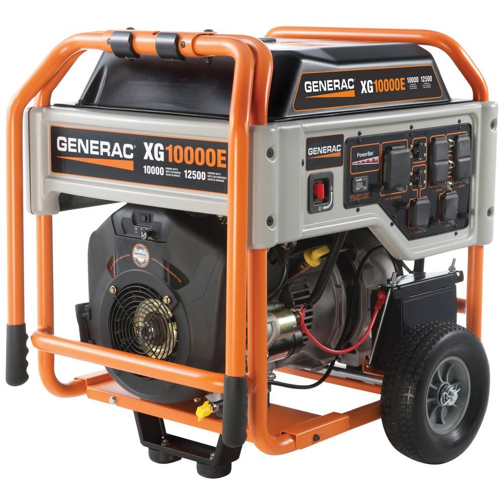 generac xg 10 000 watt gasoline powered portable generator 5802 the home depot. Black Bedroom Furniture Sets. Home Design Ideas