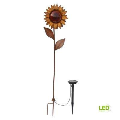 36 in. Solar Bronze Integrated LED Sunflower with Solar Panel