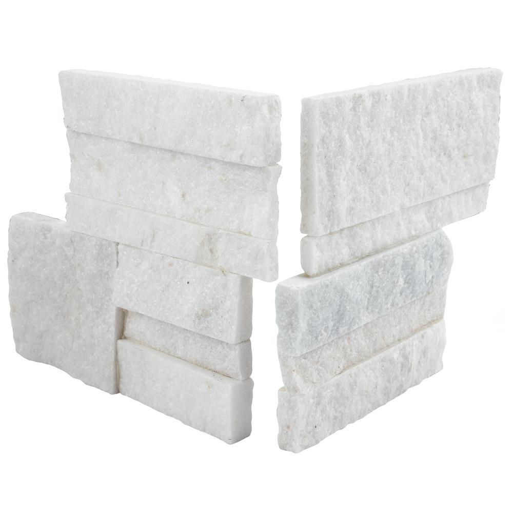 Merola Tile Ledger Panel White Quartzite Corner 7 in. x 7 in. Natural Stone Wall Tile