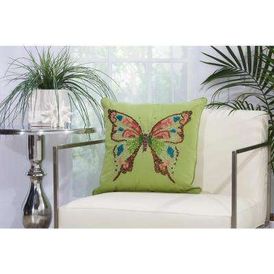 Beaded Butterfly 18 in. x 18 in. Green Indoor and Outdoor Pillow