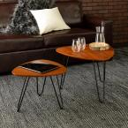 Hairpin 2-Piece 24 in. Walnut Medium Triangle Composite Coffee Table Set with Nesting Tables