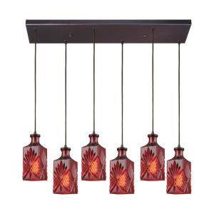 Titan Lighting Giovanna 6-Light Rectangle in Oil Rubbed Bronze with Wine Red Decanter Glass Pendant by Titan Lighting