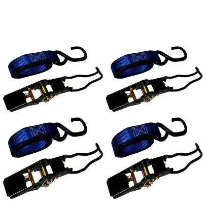 1,500 lbs. 1 in. x 15 ft. Ratchet Tie-Down Motorcycle Straps (4-Pack)