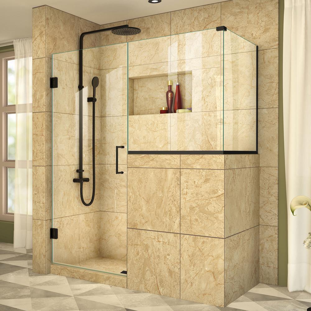 Unidoor Plus 35 In. X 72 In. Frameless Corner Hinged Shower Enclosure ...