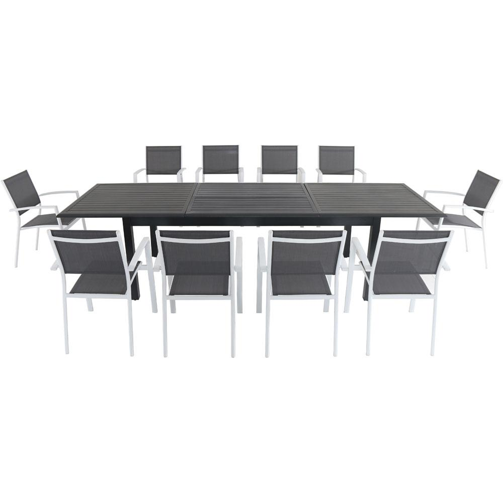 Hanover Dawson 11-Piece Aluminum Outdoor Dining Set with 10-Sling Chairs in  Gray/White and an Expandable 40 in. x 118 in. Table