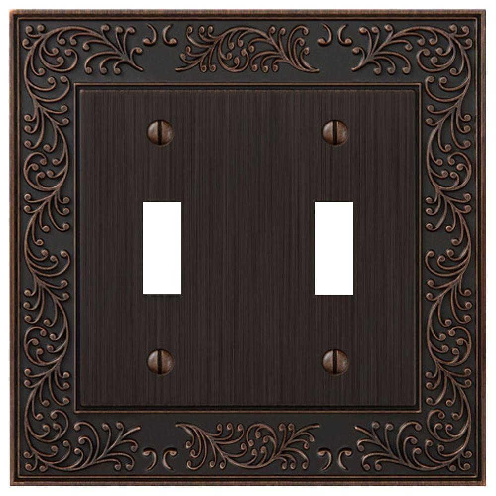 English Rose 2 Toggle Wall Plate - Aged Bronze