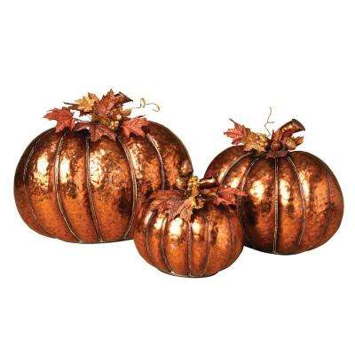 Metal Copper Finish Nested Pumpkins (Set of 3)