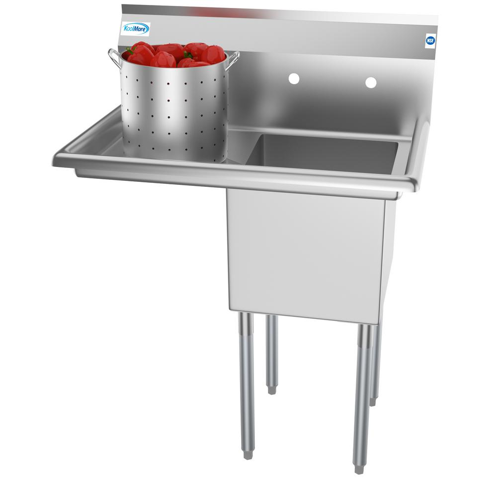 Koolmore Freestanding Stainless Steel 33 in. 2-Hole Single Bowl Commercial  Kitchen Sink with Left Side Drainboard
