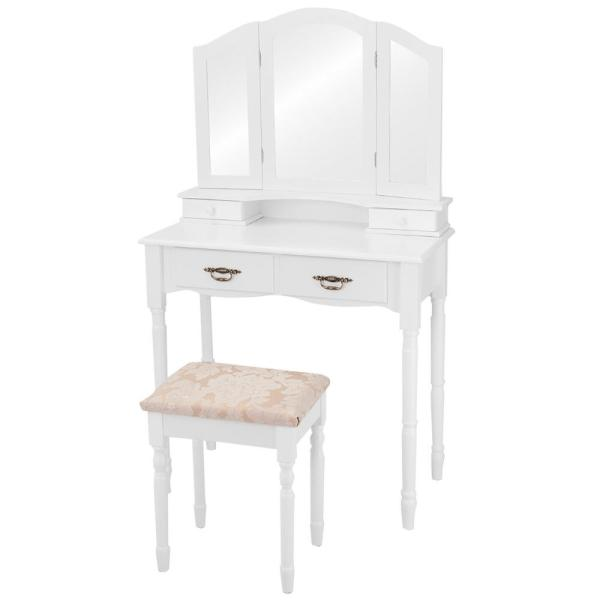 3-Piece White Bedroom Set Tri Folding Mirror Vanity Makeup Table Stool Set Home Furni with (4-Drawers)