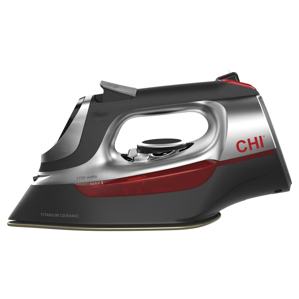 CHI Electronic Iron with Retractable Cord, Black Whether your definition of a polished look is a well-pressed suit, a smooth silk dress or a wrinkle-free shirt for work, you can achieve it with the CHI Electronic Clothing Iron. Like our haircare tools, this iron is designed to give you the high-performance power of the pros at home. Engineered with a titanium-infused ceramic soleplate similar to our popular CHI flat irons, the Electronic Clothing Iron is durable enough to withstand scratches, heats up quickly and provides an extra-smooth glide. Ironing is simpler than ever with an illuminated, digital temperature control, adjustable steam and an easy to grasp, comfortable handle. The electronic temperature control doubles as the water tank access door and swivels open for easy filling. With over 400 steam holes, you can smooth out the toughest of wrinkles effortlessly. The 8' cord is retractable for neat storage. Color: Black.