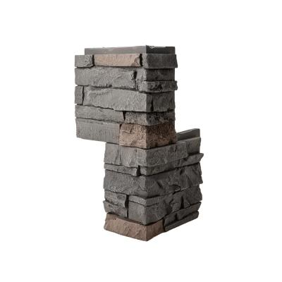 Stacked Stone Coffee 24 in. x 12 in. Faux Stone Siding Outside Corner Panel