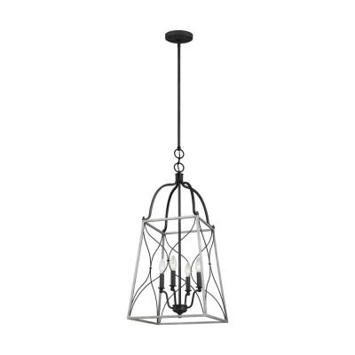 Carra Medium 4-Light Weathered Zinc Hall/Foyer Pendant with White Wash Cage Shade with Dimmable Candelabra LED Bulb