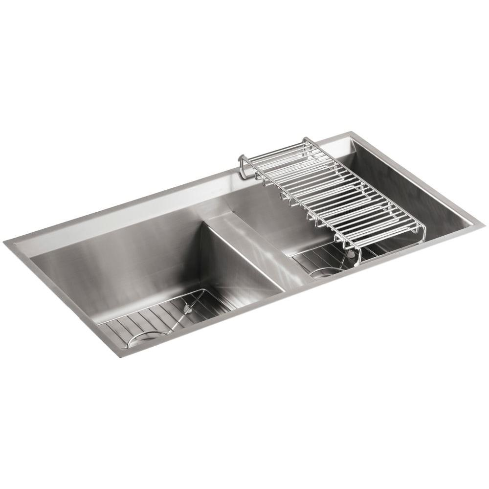 High Quality KOHLER 8 Degree Undermount Stainless Steel 33 In. Double Bowl Kitchen Sink  Kit