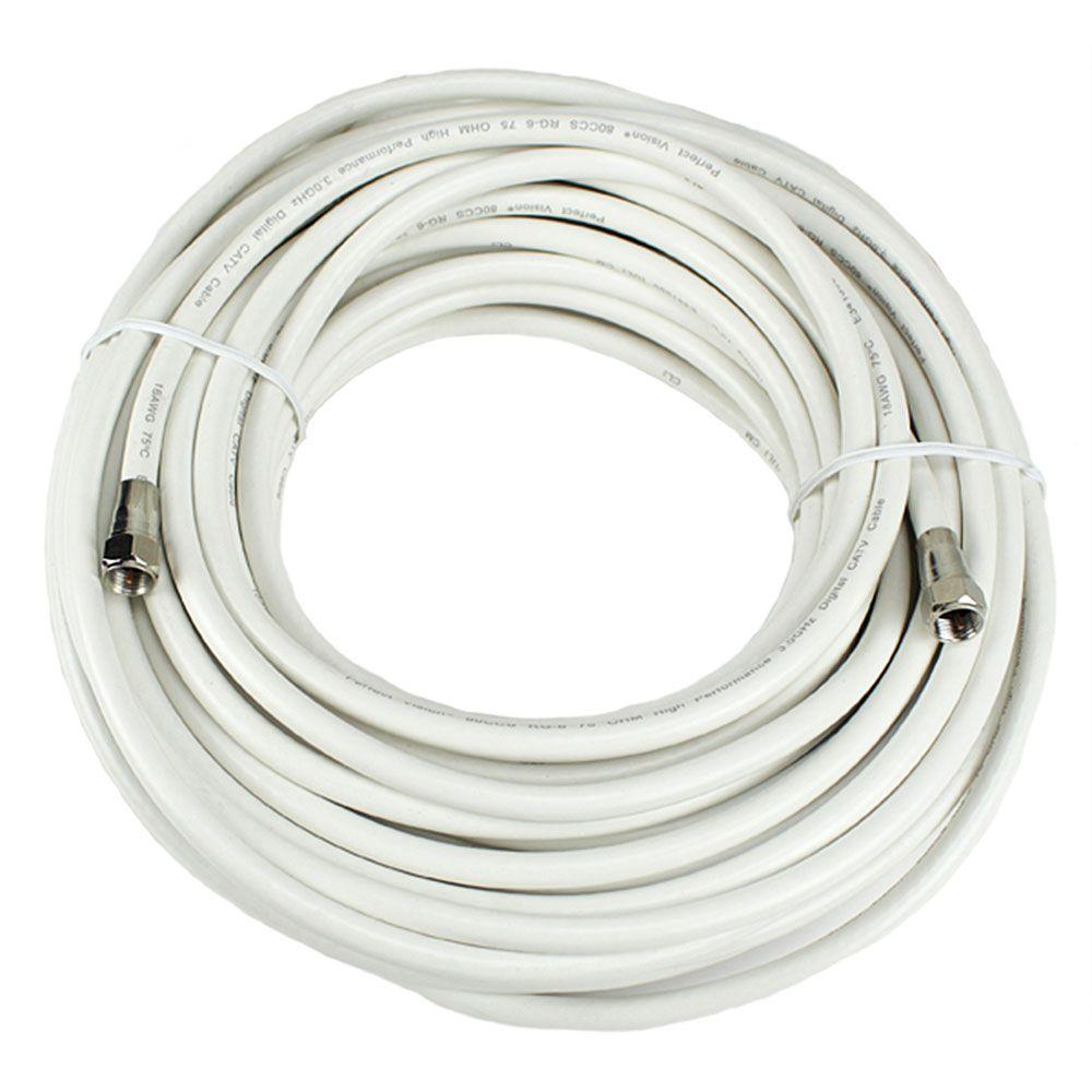 PerfectVision 50 ft. RG-6 White Coaxial Cable with Ends