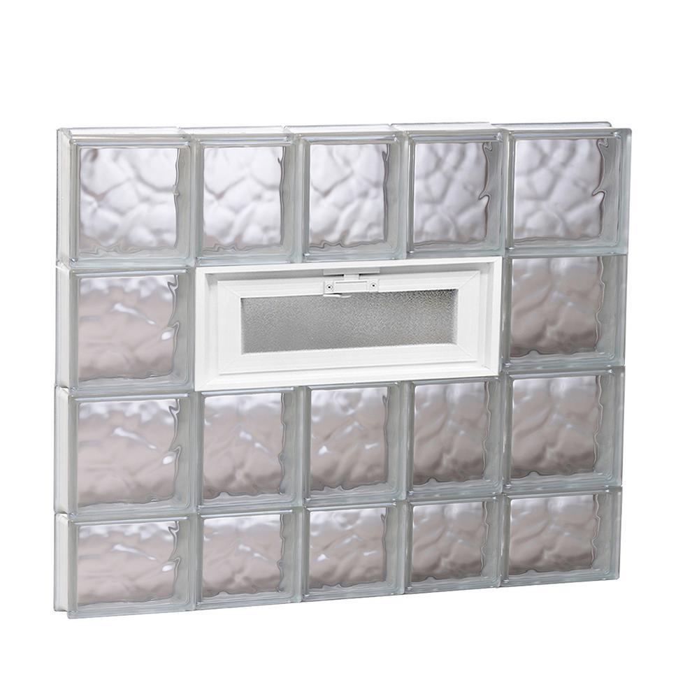 32.75 in. x 29 in. x 3.125 in. Wave Pattern Vented Glass Block Window