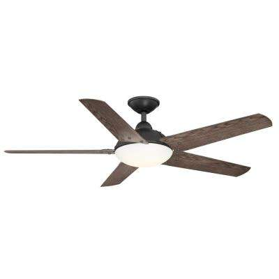Draper 54 in. LED Outdoor Natural Iron Ceiling Fan with Remote Control