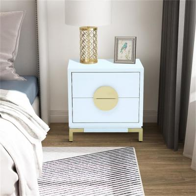 24.4 in. Height 2-Drawer Nightstand Beige MDF High Gloss Chest with Golden Stand