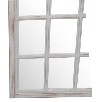 Medium Arched White Windowpane Antiqued Classic Accent Mirror (26 in. H x 36 in. W)
