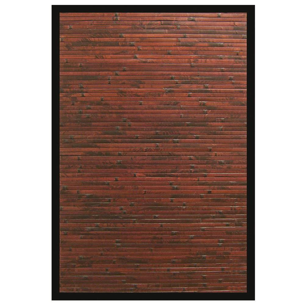 Anji Mountain Cobblestone Mahogany Brown With Black Border 6 Ft X 9 Area