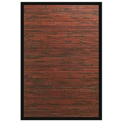 Cobblestone Mahogany Brown with Black Border 6 ft. x 9 ft. Area Rug