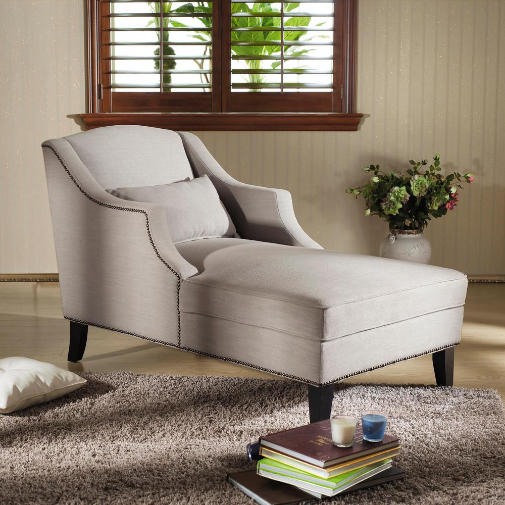 Asteria Traditional Gray Fabric Upholstered Chaise : living room with chaise lounge - Sectionals, Sofas & Couches