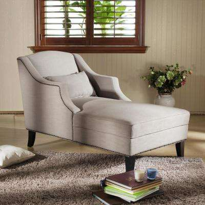 Asteria Traditional Gray Fabric Upholstered Chaise