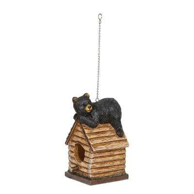 8 in. Tall Resting Bear on Log Cabin Birdhouse