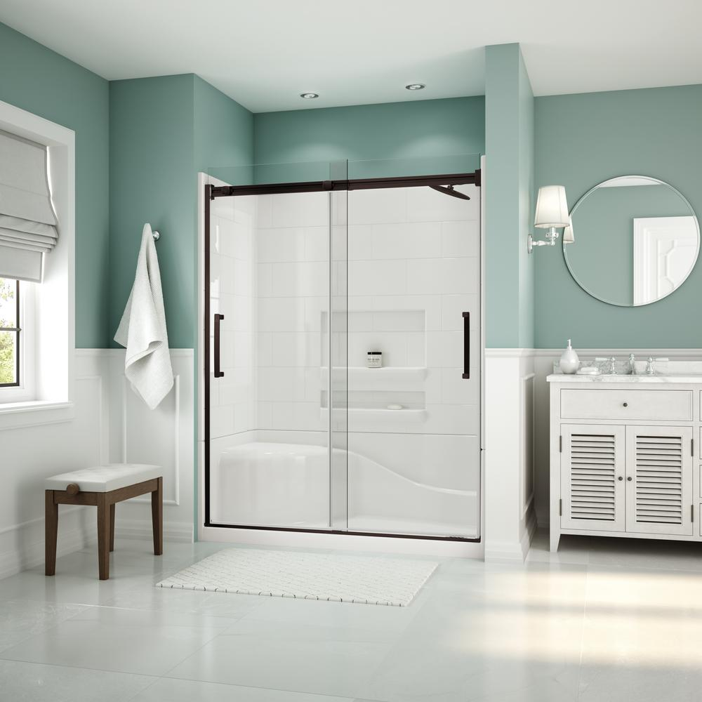 Coronado Acrylx 60 in. x 30 in. Single Threshold Right Drain Shower Kit in White with Bench with Door in Dark Bronze