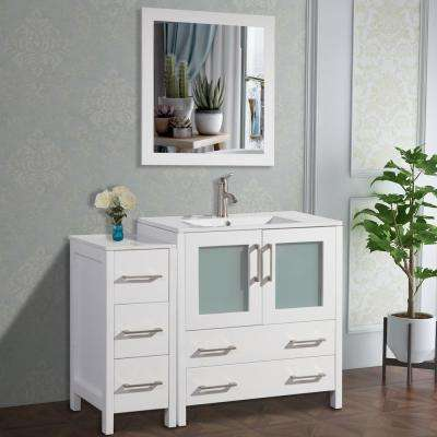 Brescia 42 in. W x 18 in. D x 36 in. H Bathroom Vanity in White with Single Basin Vanity Top in White Ceramic and Mirror