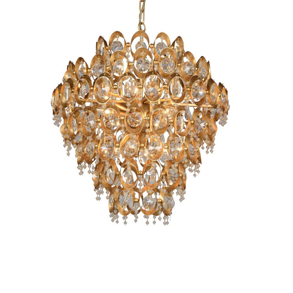12-Light Gold Crystal Chandelier