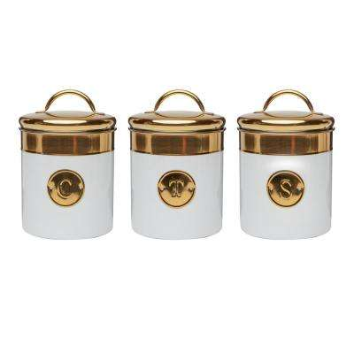 Simone 3-Piece Metal Storage Canister Set with Gold Emblems