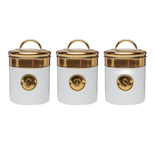 Amici Home Simone 3-Piece Metal Storage Canister Set with Gold Emblems