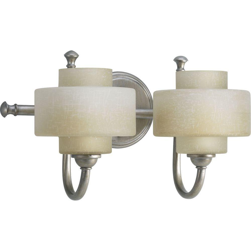 Ashbury Collection 2-Light Silver Ridge Bathroom Vanity Light with Glass Shades