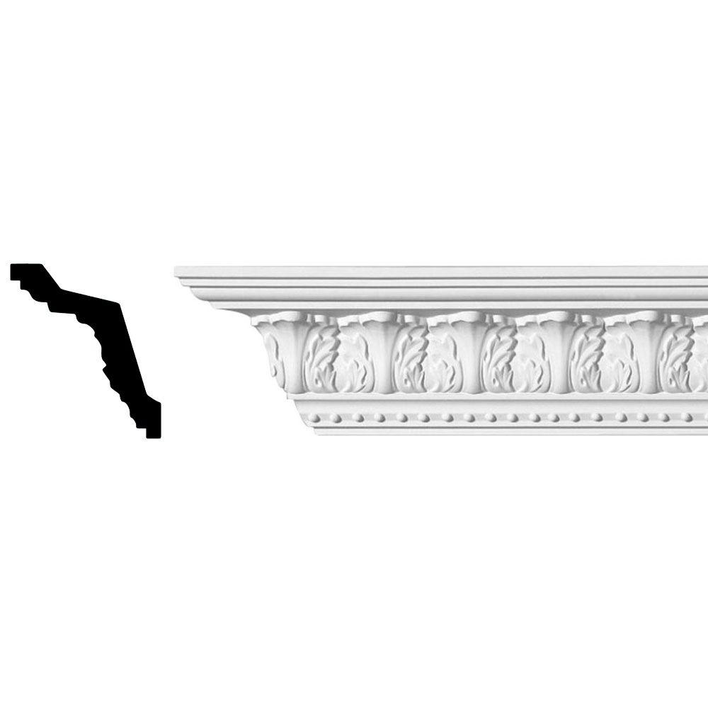 American Pro Decor 3-3/8 in. x 3 in. x 96 in. Acanthus Polyurethane Crown Moulding