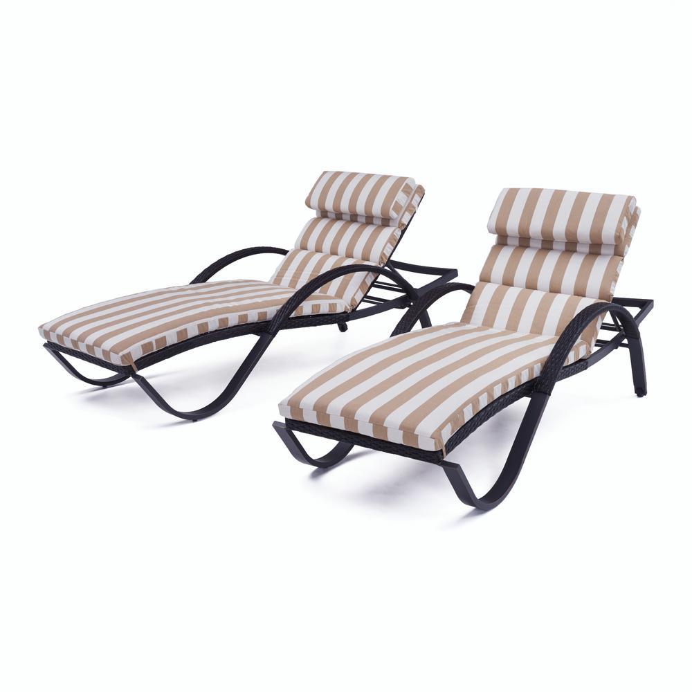 Deco 2-Piece Wicker Outdoor Chaise Lounge with Sunbrella Maxim Beige Cushions