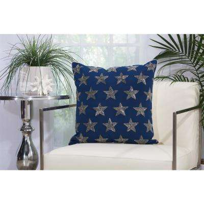 Beaded Stars Outdp 20 in. x 20 in. Navy and Silver Indoor and Outdoor Pillow