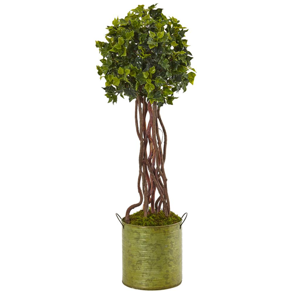 Nearly Natural Indoor Outdoor English Ivy Artificial Tree In Metal Planter Uv Resistant 5851 The Home Depot