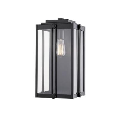 17 in. 1-Light Powder Coat Black Outdoor Wall-Light Sconce with Clear Glass
