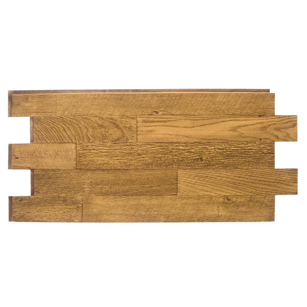 Superior Building Supplies Faux Barnwood Panel 1-1/4 in. x 52-1/4 in. x 23 in. Fall Leaf Brown Polyurethane Interlocking Panel Superior's 52 in. x 24 in. Faux Barnwood Panel (Fall Leaf Brown) is a perfect fit. Install with screws and adhesive, they're lightweight because they're made of high-density polyurethane which makes them virtually maintenance free. No insect pests or rotting to worry about. Provides years of lasting beauty because they're UV protected.