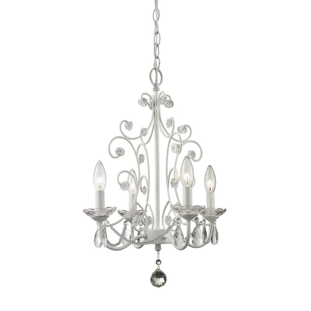 White chandeliers lighting the home depot queen 4 light gloss white chandelier arubaitofo Image collections