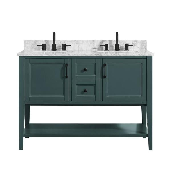 Home Decorators Collection Sherway 49 In W X 22 In D Bath Vanity In Antigua Green With Marble Vanity Top In Carrara White With White Basins 19061 Vs49 Ag The Home Depot