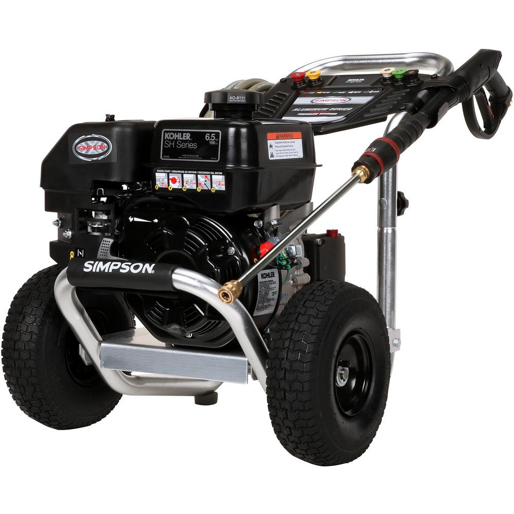 Simpson Aluminum 3300 PSI at 2.5 GPM KOHLER SH265 with AAA Triplex Plunger Pump Cold Water Pro Gas Pressure Washer